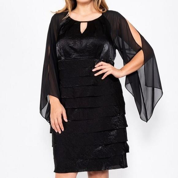 SL Fashions Dresses & Skirts - Plus Size Key Hole Chiffon Sleeve Cocktail dress